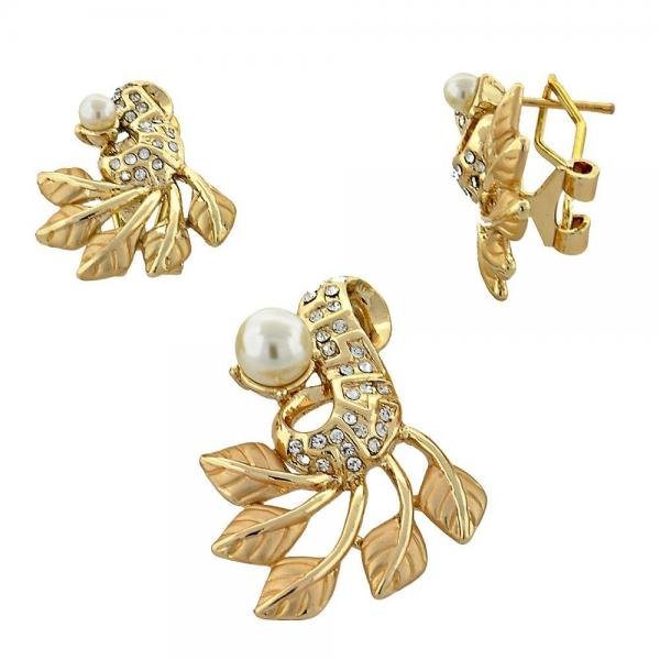 Gold Layered 10.91.0306 Earring and Pendant Adult Set, Leaf Design, with  Pearl, Golden Tone