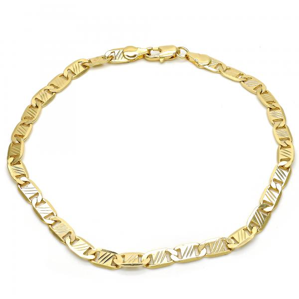 Gold Layered 04.63.1357.10 Basic Anklet, Mariner Design, Diamond Cutting Finish, Golden Tone
