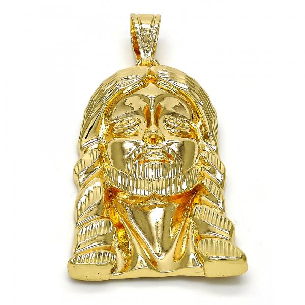 Gold Layered 05.120.0035 Religious Pendant, Jesus Design, Diamond Cutting Finish, Golden Tone