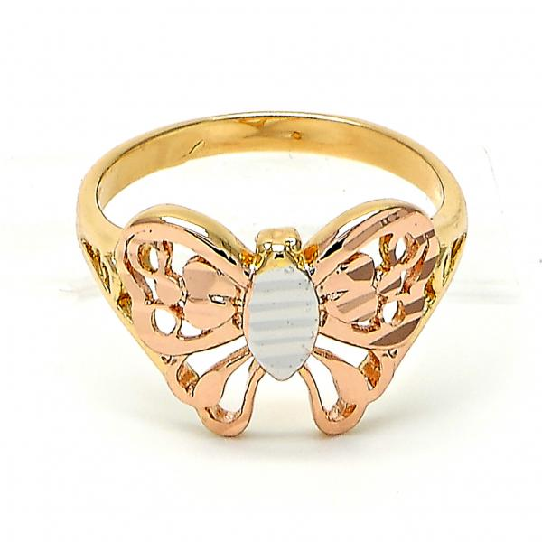 Gold Layered Elegant Ring, Butterfly Design, Tri Tone