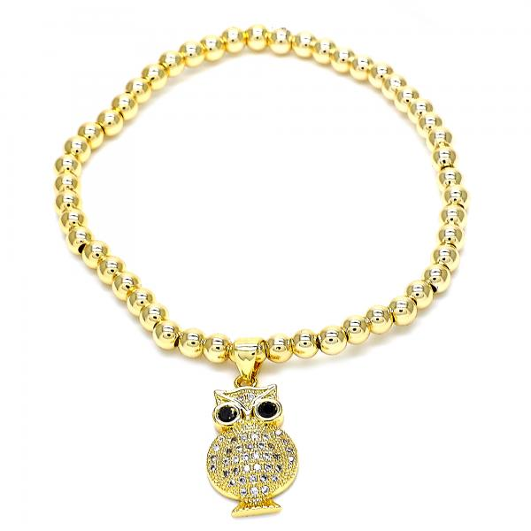 Gold Layered 03.207.0004.1.07 Fancy Bracelet, Owl Design, with Black Cubic Zirconia and White Micro Pave, Polished Finish, Golden Tone