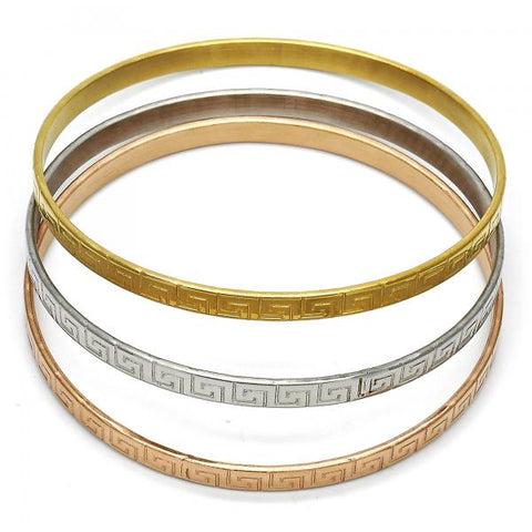 Stainless Steel 07.244.0004.06 Trio Bangle, Greek Key Design, Polished Finish, Tri Tone (05 MM Thickness, Size 6 - 2.75 Diameter)