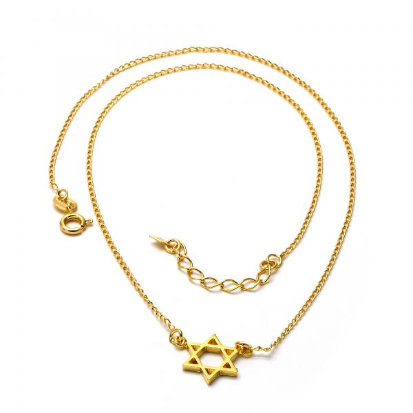 Gold Layered 04.09.0045.18 Fancy Necklace, Star of David Design, Polished Finish, Golden Tone