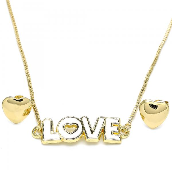 Gold Layered 06.63.0216 Earring and Pendant Adult Set, Love and Heart Design, White Enamel Finish, Golden Tone
