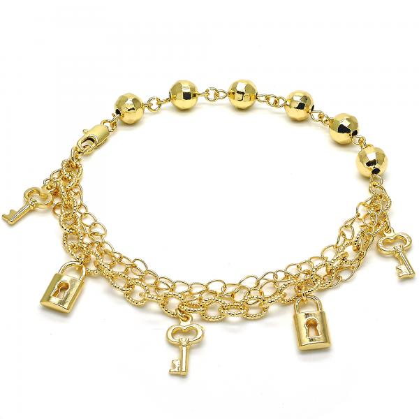Gold Layered 03.179.0042.10 Charm Anklet , Lock and key Design, with White Crystal, Polished Finish, Golden Tone