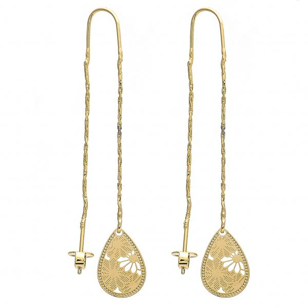 Gold Layered 02.65.2507 Threader Earring, Teardrop and Flower Design, Polished Finish, Golden Tone