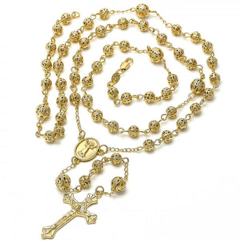 Gold Layered 5.210.005 Large Rosary, Divino Niño and Crucifix Design, Diamond Cutting Finish, Golden Tone