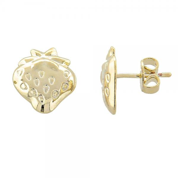 Gold Layered 02.165.0032 Stud Earring, Cherry Design, Diamond Cutting Finish, Golden Tone