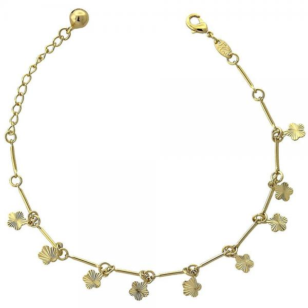 Gold Layered 5.016.014.07 Charm Bracelet, Flower and Rattle Charm Design, Diamond Cutting Finish, Golden Tone
