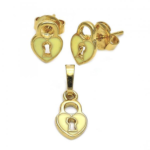 Gold Layered 10.64.0003 Earring and Pendant Children Set, Heart Design, Enamel Finish, Golden Tone
