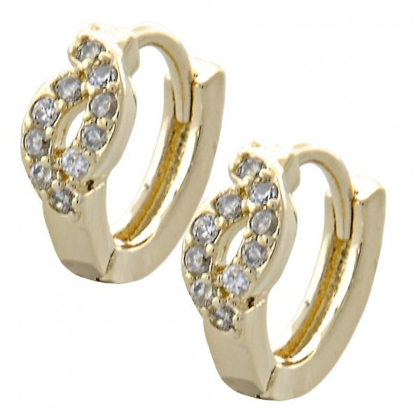 Gold Layered 02.155.0040 Huggie Hoop, with White Cubic Zirconia, Polished Finish, Golden Tone