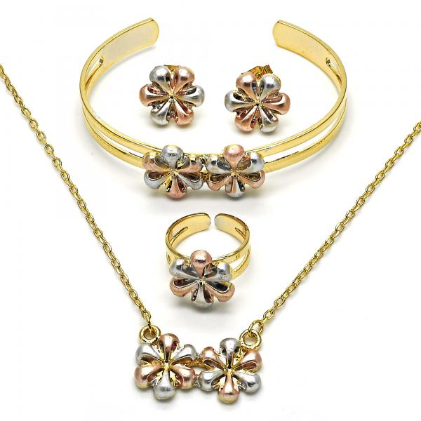 Gold Layered 06.65.0129 Earring and Pendant Children Set, Flower Design, Polished Finish, Tri Tone