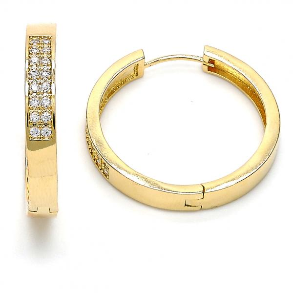 Gold Layered 02.167.0002.30 Huggie Hoop, with White Micro Pave, Polished Finish, Golden Tone