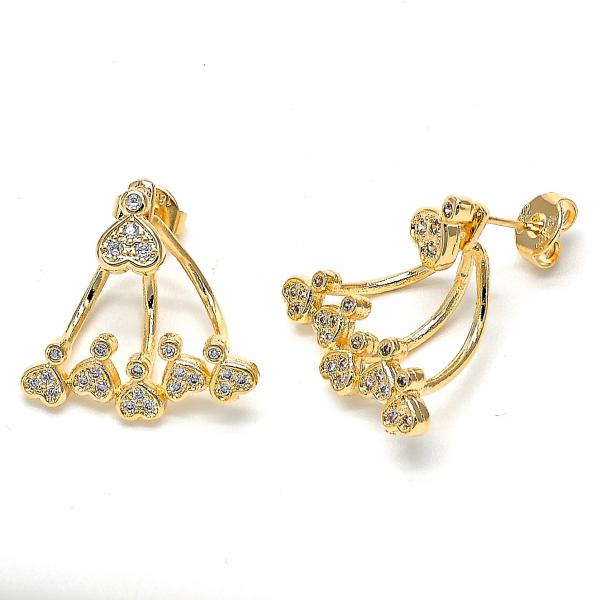 Gold Layered 02.199.0009 Dangle Earring, Heart and Love Design, with White Cubic Zirconia and White Crystal, Polished Finish, Golden Tone