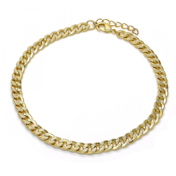 Gold Layered 04.213.0097.10 Basic Anklet, Pave Cuban Design, Polished Finish, Golden Tone