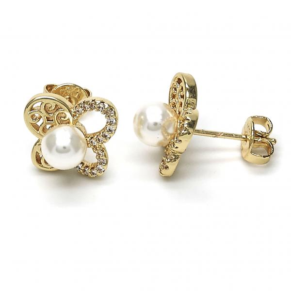 Gold Layered 02.156.0215 Stud Earring, Butterfly and Ball Design, with Ivory Pearl and White Crystal, Polished Finish, Golden Tone