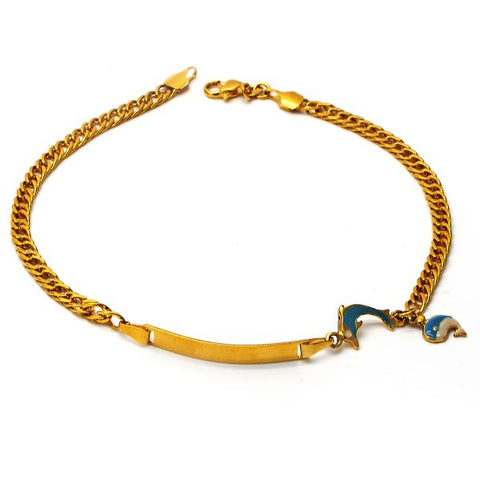 Gold Layered 04.63.1282.10 ID Anklet, Dolphin Design, Blue Enamel Finish, Golden Tone