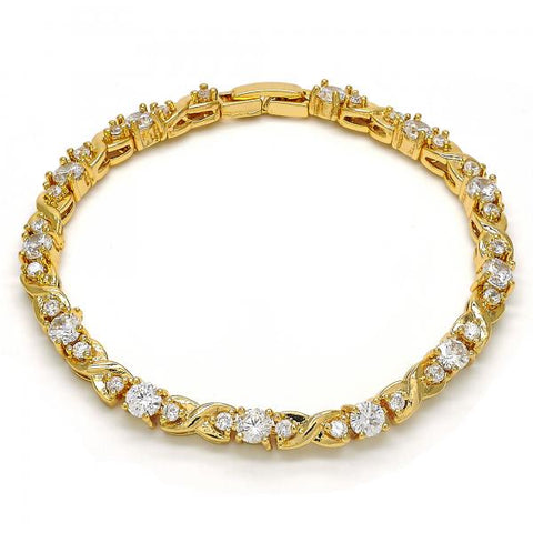 Gold Layered 03.304.0004.07 Tennis Bracelet, Infinite Design, with White Cubic Zirconia, Polished Finish, Golden Tone