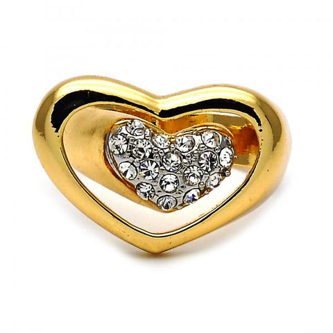 Gold Layered Elegant Ring, Heart Design, with Crystal, Golden Tone