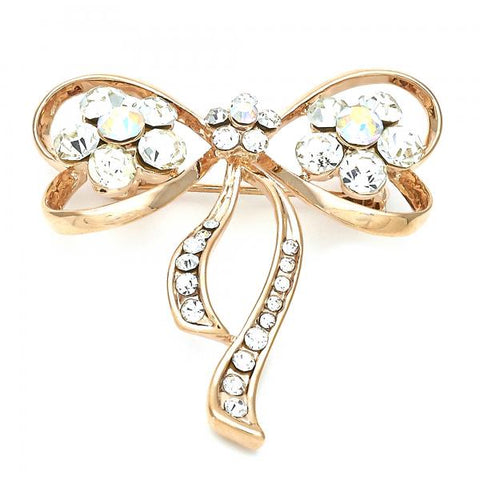 Gold Layered 13.181.0009 Basic Brooche, Flower and Bow Design, with White Crystal, Polished Finish, Golden Tone