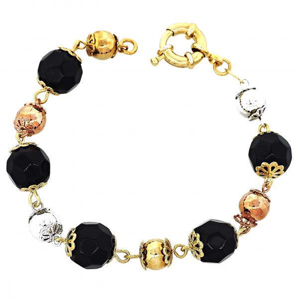 Gold Layered 5.008.002 Fancy Bracelet, Ball Design, with Black Azavache, Polished Finish, Tri Tone
