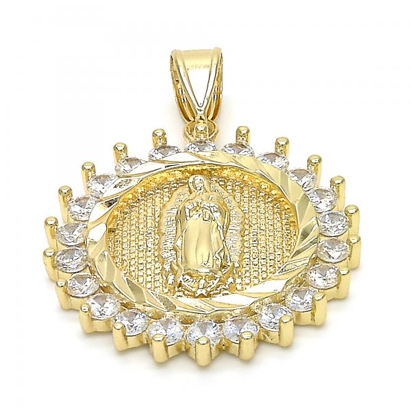 Gold Layered 05.253.0042 Religious Pendant, Guadalupe Design, Diamond Cutting Finish, Golden Tone