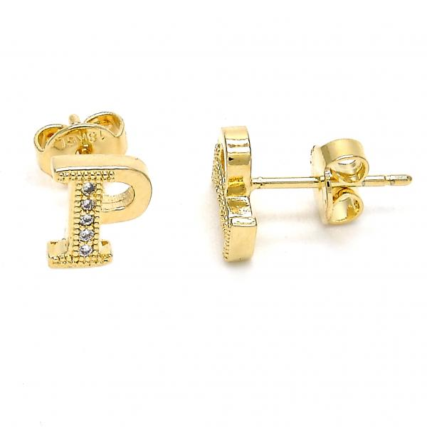 Gold Layered 02.156.0197 Stud Earring, with White Micro Pave, Polished Finish, Golden Tone