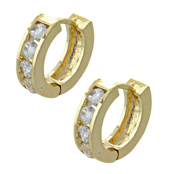 Gold Layered 02.165.0115 Huggie Hoop, with White Cubic Zirconia, Polished Finish, Golden Tone
