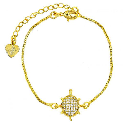 Gold Layered 03.208.0001.06 Fancy Bracelet, Turtle and Box Design, with White Cubic Zirconia, Polished Finish, Golden Tone