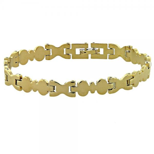 Gold Layered 03.102.0006 Solid Bracelet, Diamond Cutting Finish, Golden Tone