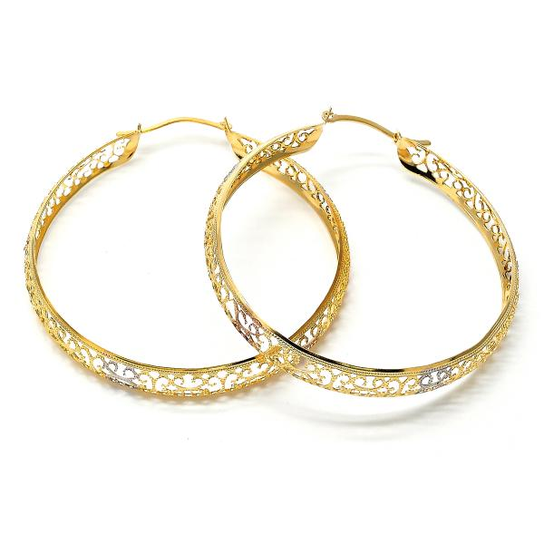 Gold Layered 02.32.0281 Large Hoop, Filigree Design, Diamond Cutting Finish, Tri Tone