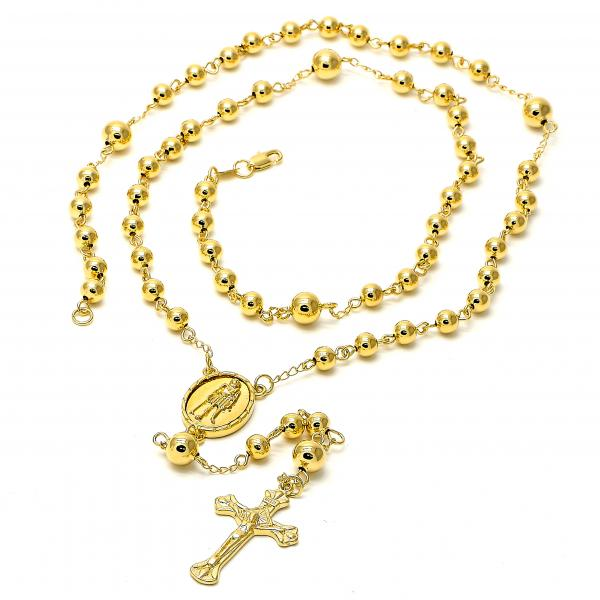 Gold Layered 5.215.005.1.30 Large Rosary, Crucifix and San Lazaro Design, Polished Finish, Golden Tone