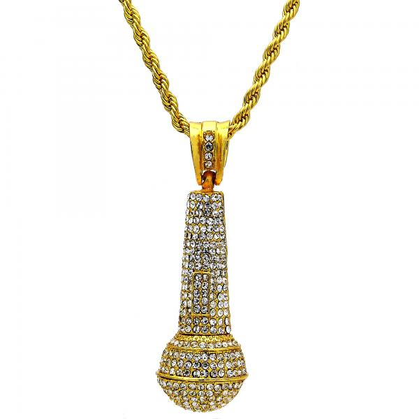 Gold Tone 04.242.0003.30GT Pendant Necklace, Rope Design, with White Crystal, Polished Finish, Golden Tone