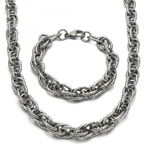 Stainless Steel 06.289.0008 Necklace and Bracelet, Diamond Cutting Finish, Steel Tone