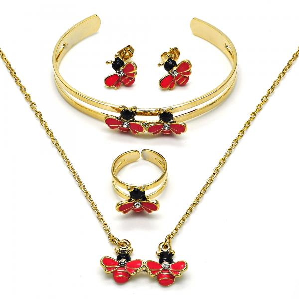Gold Layered 06.65.0080.2 Earring and Pendant Children Set, Bee Design, with White Crystal, Dark Pink Enamel Finish, Golden Tone