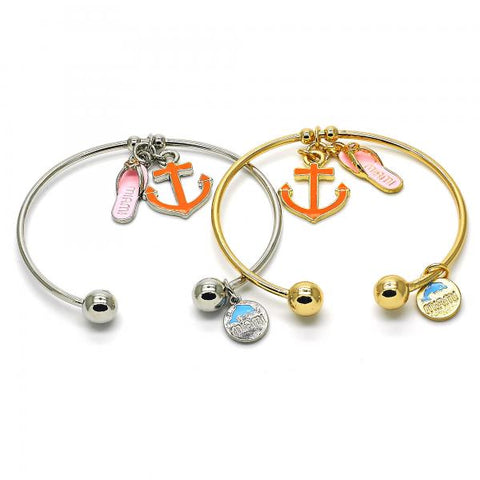 Gold Layered Individual Bangle, Anchor and Shoes Design, with Crystal, Golden Tone