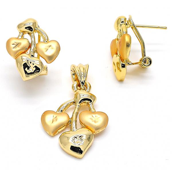 Gold Layered 10.59.0175 Earring and Pendant Adult Set, Heart Design, Matte Finish, Golden Tone