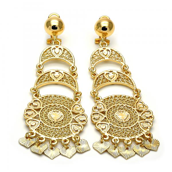 Gold Layered 5.112.003 Chandelier Earring, Diamond Cutting Finish, Golden Tone
