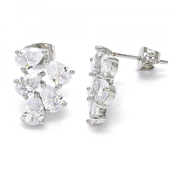 Rhodium Plated 02.213.0111 Stud Earring, Teardrop Design, with White Cubic Zirconia, Polished Finish, Rhodium Tone