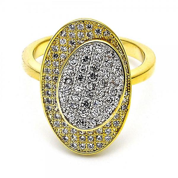 Gold Layered Multi Stone Ring, with Micro Pave, Two Tone
