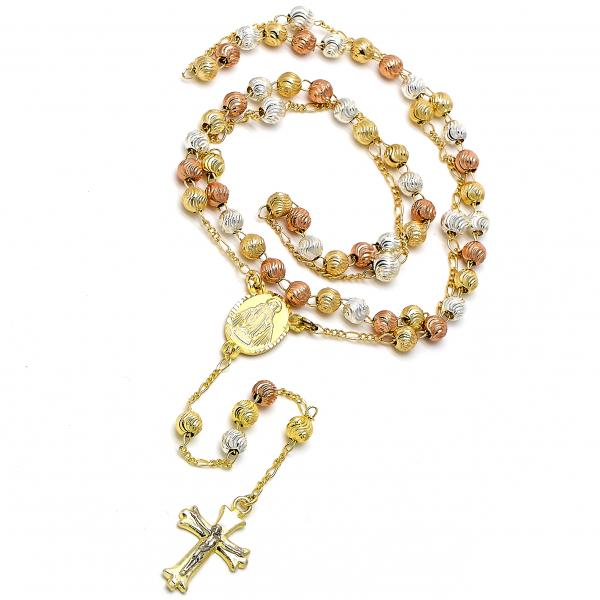 Gold Plated 09.59.0019.24 Medium Rosary, Medalla Milagrosa and Crucifix Design, Diamond Cutting Finish, Tri Tone