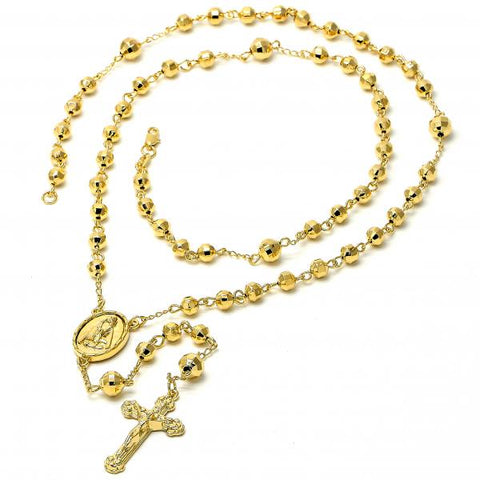 Gold Layered 5.217.003.1.30 Large Rosary, Crucifix and Altagracia Design, Diamond Cutting Finish, Golden Tone
