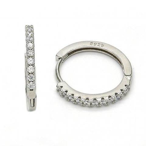 Sterling Silver 02.175.0080.20 Huggie Hoop, with White Crystal, Polished Finish, Rhodium Tone