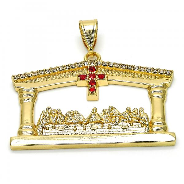 Gold Layered 05.253.0014 Religious Pendant, Cross Design, with White and Garnet Crystal, Polished Finish, Golden Tone
