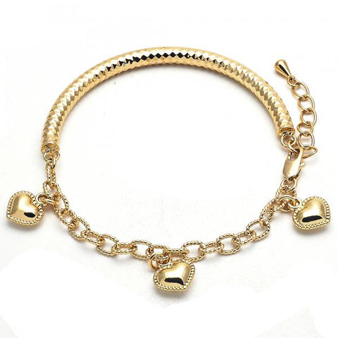 Gold Layered 03.63.1863.08 Charm Bracelet, Heart and Hollow Design, Diamond Cutting Finish, Golden Tone