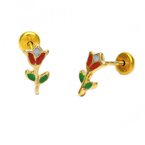Gold Layered 02.09.0040 Stud Earring, Flower Design, Red Enamel Finish, Golden Tone