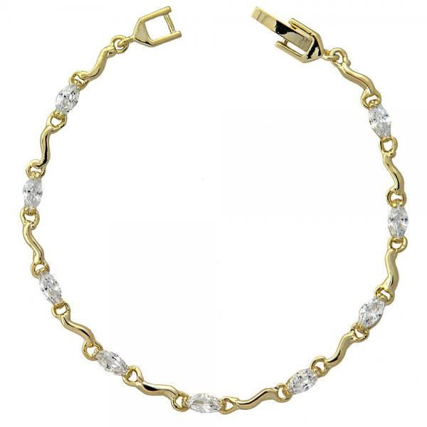 Gold Layered 5.029.005 Fancy Bracelet, with White Cubic Zirconia, Polished Finish, Golden Tone