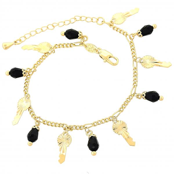 Gold Layered 03.63.0178.08 Charm Bracelet, key Design, with Black Crystal, Diamond Cutting Finish, Golden Tone
