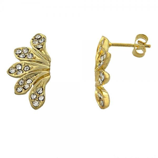 Gold Layered 02.59.0062 Stud Earring, Flower Design, with White Cubic Zirconia, Polished Finish, Golden Tone