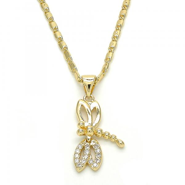 Gold Layered 04.195.0017.20 Fancy Necklace, Dragon-Fly Design, Polished Finish, Golden Tone